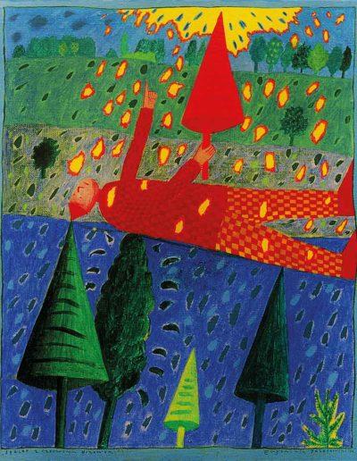 1990 Eugeniusz Józefowski, Spacer z czerwonym drzewem, akryl na płótnie, 41 x 33 cm