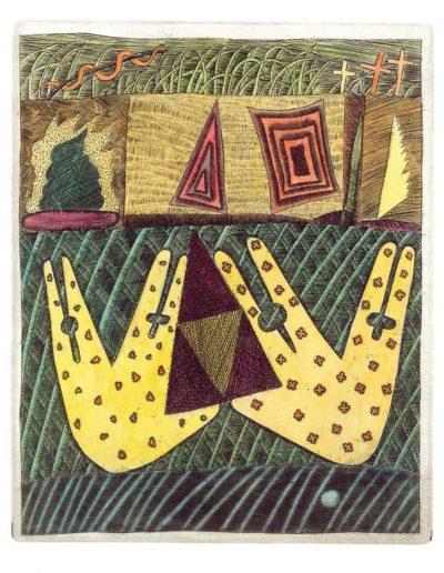 1990 Eugeniusz Józefowski, Trójkąty i krzyże, 17 x 13 cm, miedzioryt