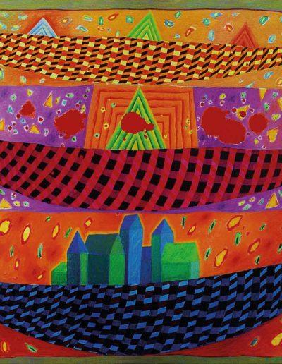 1990 Eugeniusz Józefowski, Trzy łodzie, olej na płótnie