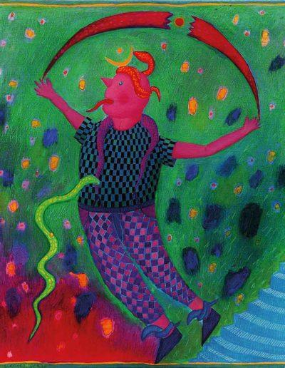 1990 Eugeniusz Józefowski, Ulubieniec węży, 38 x 33 cm, olej
