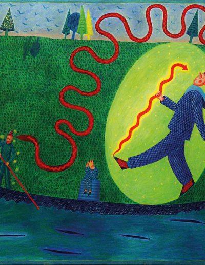 1990 Eugeniusz Józefowski, Wąż adorujący wielką łódź 81 x 100 cm