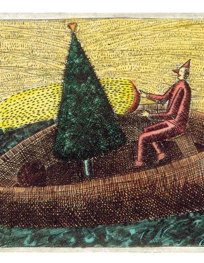 1990 Eugeniusz Józefowski, Z drzewem na łódce, 7 x 8,5 cm miedzioryt