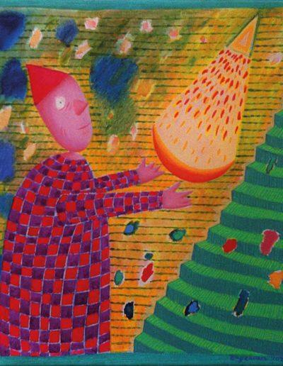 1990 Eugeniusz Józefowski, Z księżycem emitującym trójkąt, olej na płótnie,25 x 25 cm