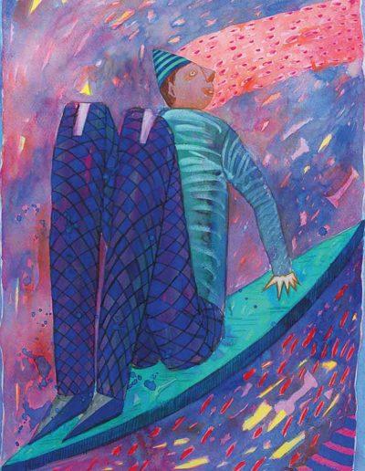 1991 Eugeniusz Józefowski, Z samym sobą na łódce, akwarela na papierze, 60 x 80 cm