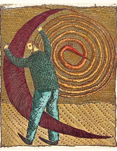 1992 Eugeniusz Józefowski, Miłośnik księżyca, 11 x 9,2 cm intaglio