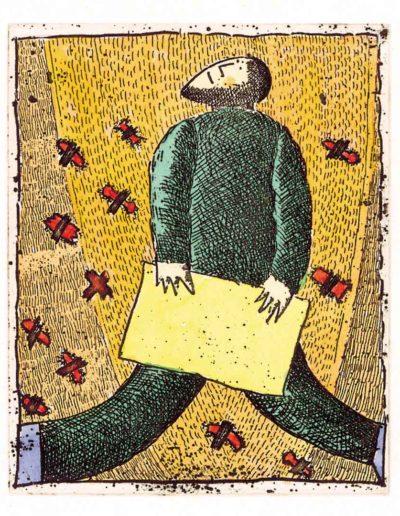 1992 Eugeniusz Józefowski, Podanie do góry, 8 x 6,5 cm, intaglio