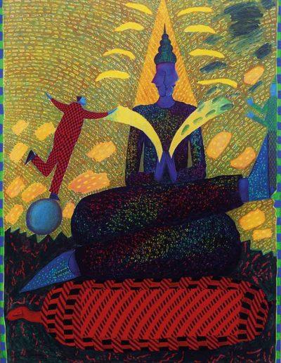 1992 Eugeniusz Józefowski, Rozmowa wielkiego z dwoma małymi, akryl i olej na płótnie, 70 x 90 cm