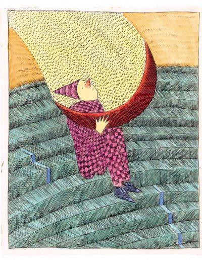 1992 Eugeniusz Józefowski, chwila na schodach, 11 x 9,2 cm miedzioryt