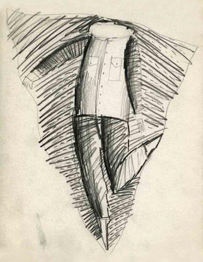 1993 Eugeniusz Józefowski, Ledwo mieszczący się w trójkącie rysunek ołówkiem