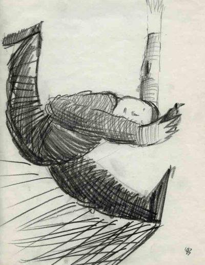 1993 Eugeniusz Józefowski, Rozbiegany z pokazowym ptaszkiem, 30 x 21 cm, rysunek ołówkiem na papierze