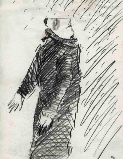 1994 Eugeniusz Józefowski, Ach jak pięknie 30 x 21 cm, rysunek ołówkiem na papierze