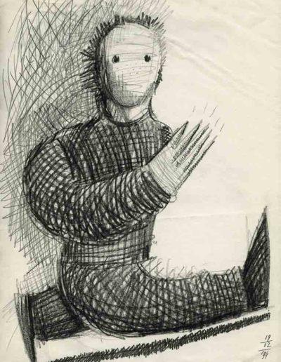 1994 Eugeniusz Józefowski, Mierzenia kroków, 30 x 21 cm, rysunek ołówkiem na papierze