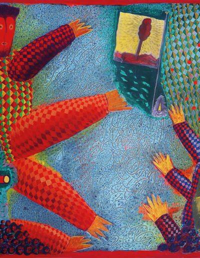 1995 1996 Eugeniusz Józefowski, Dwóch wielotękich , akryl i kolaż na płótnie, 102 x 70 cm