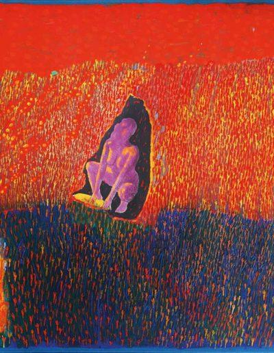 1995 Eugeniusz Józefowski, Meszuge Singer, akryl i kolaż na płótnie, 102 x 70 cm