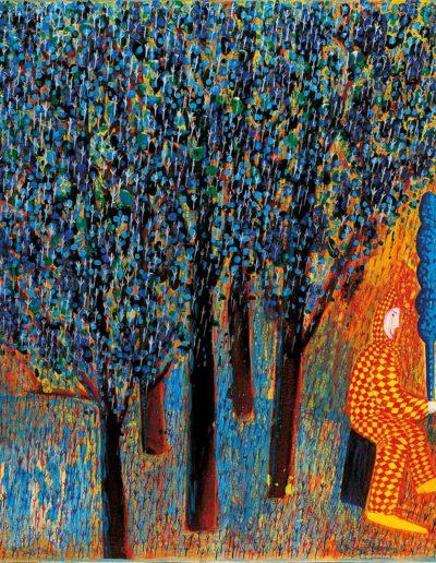 1996 Eugeniusz Józefowsk, Z drzewkiem w ręku, akryl i olej na płótnie, 50 x 60 cm