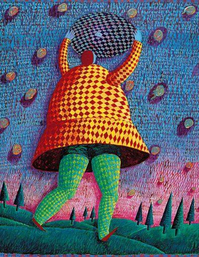 1996 Eugeniusz Józefowski, Anonimowa czterdziestoletnia kobieta, akryl i olej na płótnie, 50 x 60 cm