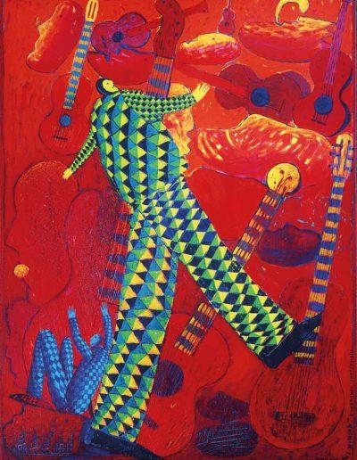 1996 Eugeniusz Józefowski, Gracz lub grajek, akryl i olej na płótnie, 53 x 70 cm