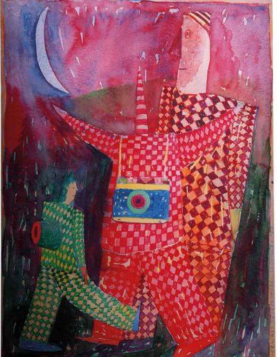 1996 Eugeniusz Józefowski, Grupa fotografów, akwarela, 24 x 30 cm