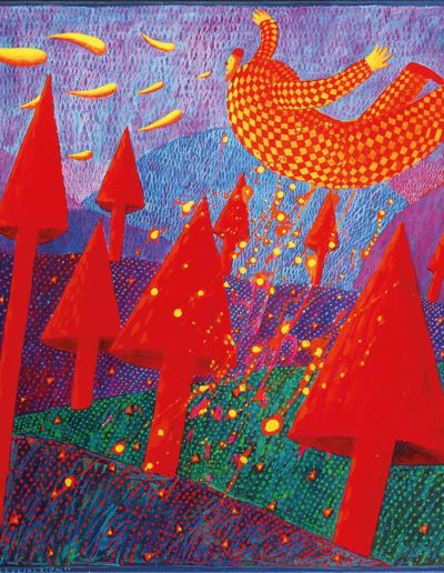 1996 Eugeniusz Józefowski, Przelot nad czerwonym zagajnikiem, olej na płótnie, 102 x 70 cm