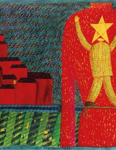 1996 Eugeniusz Józefowski, Rozmowa z żółtą gwaiazdą nienawiści w obecności tego Większego, akryl na płótnie, 125 x 86 cm