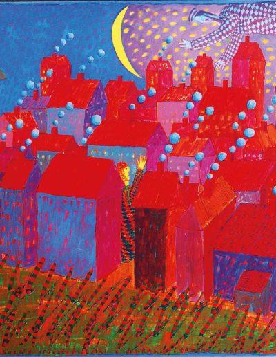 1996 Po północny pejzaż miejski z dymkami i trzema postaciami, 70 x 102 cm, olej
