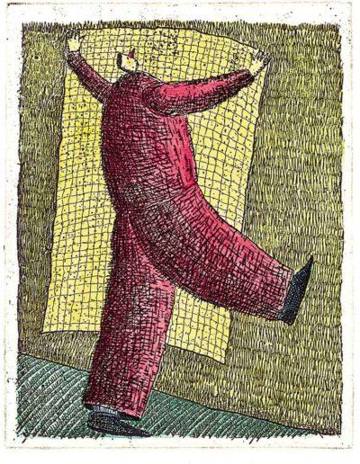 1997 Eugeniusz Józefowski, Duża kartka, 12,2 x 9,5 cm intaglio