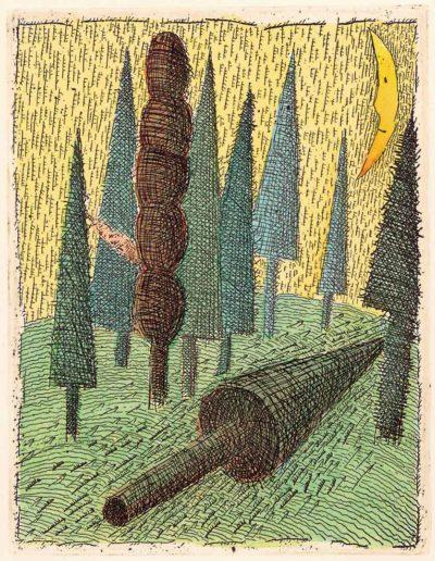 1997 Eugeniusz Józefowski, Leżace drzewo, 12,2 x 9,5 cm, intaglio