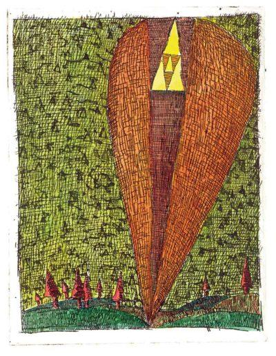 1997 Eugeniusz Józefowski, Uczuciowy trójkąt, 12,2 x 9,5 cm, intaglio