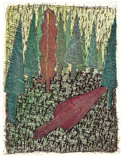 1997 Eugeniusz Józefowski, Upadłe drzewo, 12,2 x 9,5 cm, intaglio