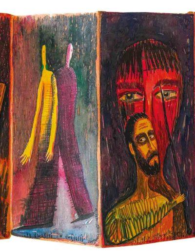 1998 1999 Eugeniusz Józefowski, Nie tylko kwiat, książka artystyczna harmonijkowa, akwarele na papierze czerpanym, format 24 x 47 x 1,8 cm 10