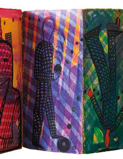 1998 1999 Eugeniusz Józefowski, Szesnaście notatek z nieodbytych podróży, książka artystyczna harmonijkowa, akwarele na papierze czerpanym, format 24 x 47 x 2 cm 10