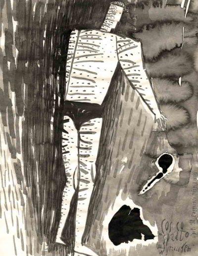 1998 Eugeniusz Józefowski, Coś co spadło lub wyrzuciłem, tusz na papierze,30 x 21 cm