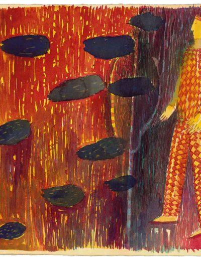1998 Eugeniusz Józefowski, Czwarta z cyklu W kółko to samo, akwarela na papierze czerpanym , 22,5 x 22,5 cm