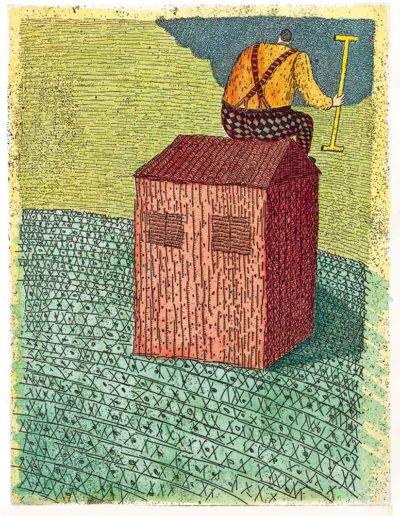 1998 Eugeniusz Józefowski, Dom o zamkniętej facjacie, 24,5 x 19,5 cm, intaglio