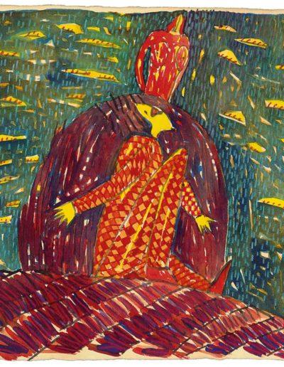 1998 Eugeniusz Józefowski, Druga z cyklu W kółko to samo, akwarela na papierze czerpanym , 22,5 x 22,5 cm