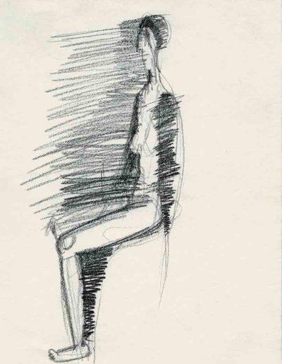 1998 Eugeniusz Józefowski, Kobieta, która pojawi się później, 30 x 21 cm, rysunek ołówkiem na papierze
