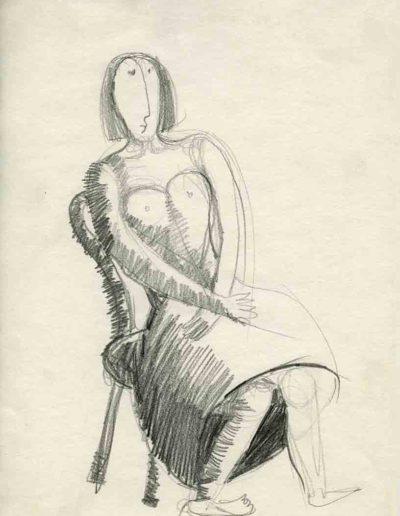1998 Eugeniusz Józefowski, Kobieta sercowo zaawansowana, 30 x 21 cm, rysunek ołówkiem na papierze