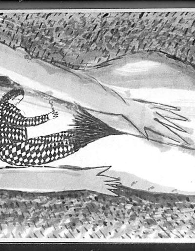 1998 Eugeniusz Józefowski, Ksiażka z dwóch podroży, tusz na papierze ryżowym, książka zwój format 900 cm x 28 cm 03