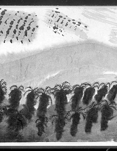 1998 Eugeniusz Józefowski, Ksiażka z dwóch podroży, tusz na papierze ryżowym, książka zwój format 900 cm x 28 cm 06