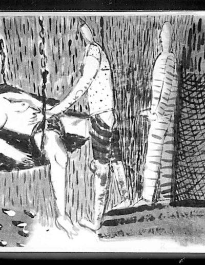 1998 Eugeniusz Józefowski, Ksiażka z dwóch podroży, tusz na papierze ryżowym, książka zwój format 900 cm x 28 cm 08