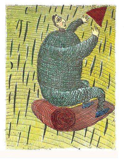 1998 Eugeniusz Józefowski, Nadawca trójkąta, 12 x 9 cm, intaglio