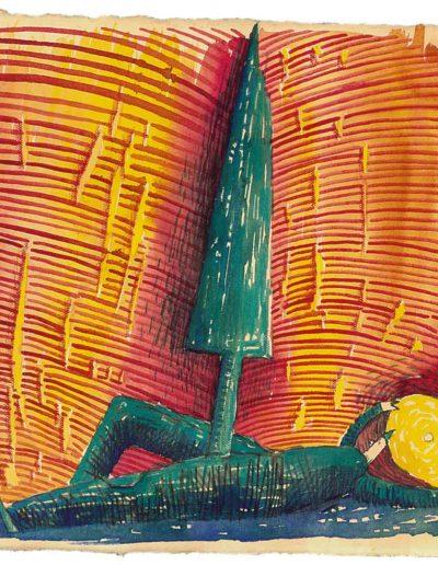 1998 Eugeniusz Józefowski, Pierwsza z cyklu W kółko to samo, akwarela na papierze czerpanym, 22,5 x 22,5 cm