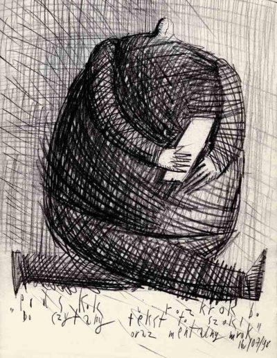 1998 Eugeniusz Józefowski, Podskok i rozkrok, bo czytany tekst to szok oraz mentalny mrok, 30 x 21 cm, rysunek ołówkiem na papierze