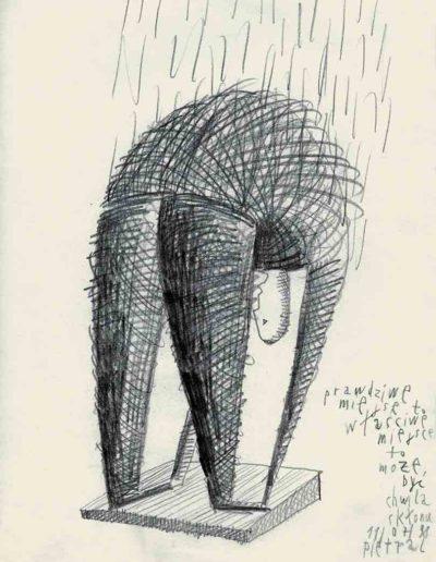 1998 Eugeniusz Józefowski, Prawdziwe miejsce to właściwe miejsce - to może być chwila skłonu, 30 x 21 cm, rysunek ołówkiem na papierze
