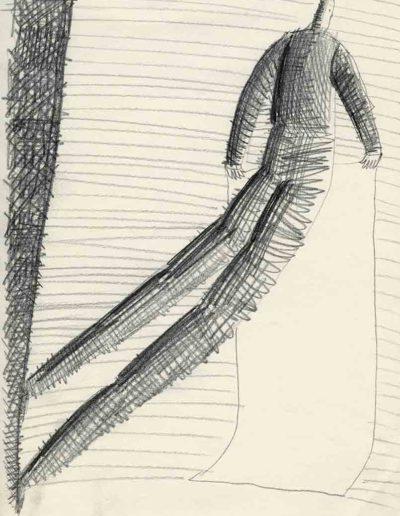 1998 Eugeniusz Józefowski, Rulon z pustym zapisem, 30 x 21 cm, rysunek ołówkiem na papierze