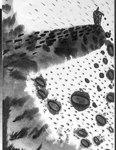 1998 Eugeniusz Józefowski, Sceny z postaciami, książka artystyczna, rysunki tuszem na papierze ryżowym, unikat, Liguria Włochy, format 31,5 x 58,5 cm 03