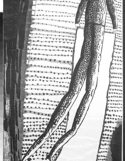 1998 Eugeniusz Józefowski, Sceny z postaciami, książka artystyczna, rysunki tuszem na papierze ryżowym, unikat, Liguria Włochy, format 31,5 x 58,5 cm 04