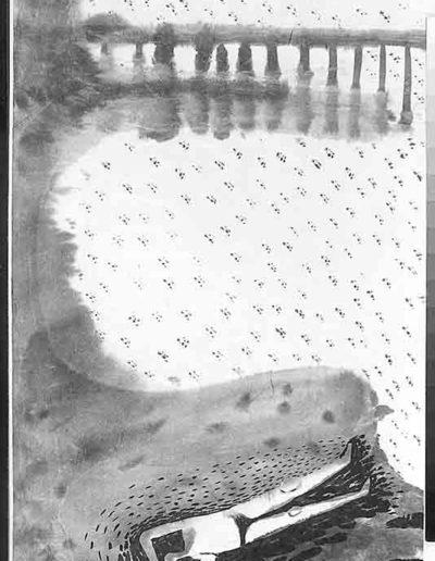 1998 Eugeniusz Józefowski, Sceny z postaciami, książka artystyczna, rysunki tuszem na papierze ryżowym, unikat, Liguria Włochy, format 31,5 x 58,5 cm 05
