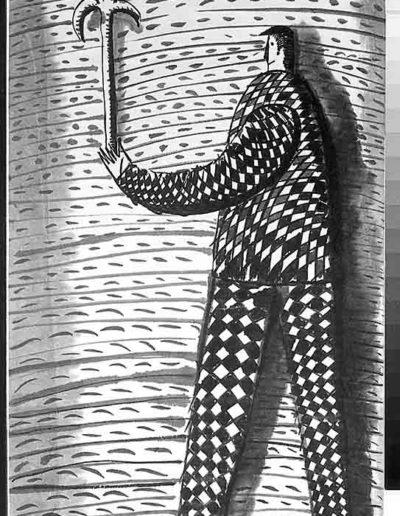 1998 Eugeniusz Józefowski, Sceny z postaciami, książka artystyczna, rysunki tuszem na papierze ryżowym, unikat, Liguria Włochy, format 31,5 x 58,5 cm 06