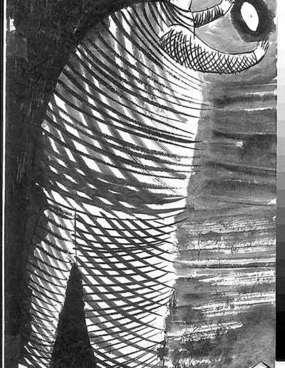 1998 Eugeniusz Józefowski, Sceny z postaciami, książka artystyczna, rysunki tuszem na papierze ryżowym, unikat, Liguria Włochy, format 31,5 x 58,5 cm 07